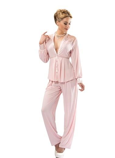 Siyah İnci Dantelli Pamuklu Pijama Takım Pudra